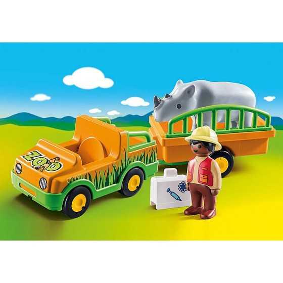 PLAYMOBIL 70182 - Vétérinaire avec véhicule et rhinocéros