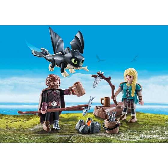 Playmobil 70040 Harold et Astrid avec un bébé dragon