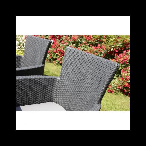 Fauteuil de jardin Gris - aspect rotin tressé avec coussin polyester - ALLIBERT BY KETER - IOWA