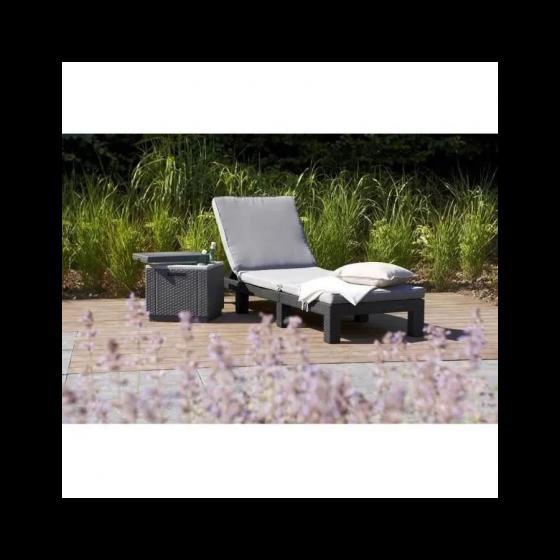 Bain de soleil DAYTONA - ALLIBERT BY KETER - imitation résine tressée - Gris