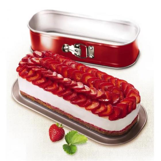TEFAL Moule à cake Delibake en acier - Ø 30 x 11 cm - Rouge et gris - Avec charnière