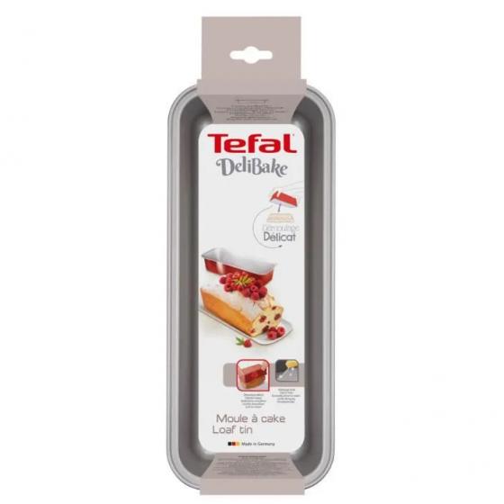 TEFAL Moule à cake Delibake en acier - Ø 30 cm - Rouge et gris