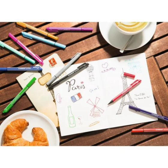 STABILO pointMaxTrousse de 14 stylos feutres Classique et pastel