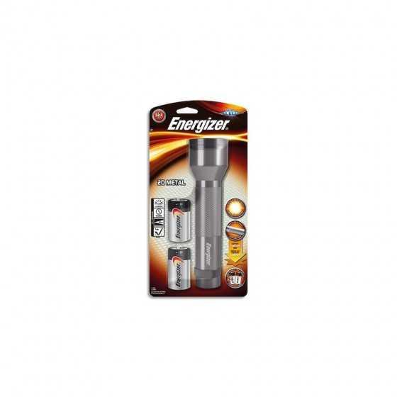 ENERGIZER Torche métal 2D 6 Led gris argent légère autonomie 10h, portée 48 mètres Livrée avec 2 piles D