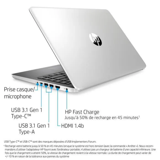 "HP PC Portable 14s-dq1062nf - 14""FHD - i5-1035G1 - RAM 8Go - Stockage 512Go SSD - Windows 10"