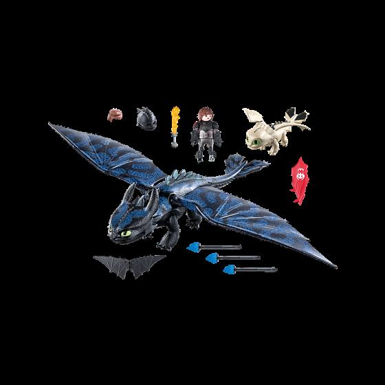 PLAYMOBIL 70037 Dragons 3 - Krokmou et Harold avec bébé dragon